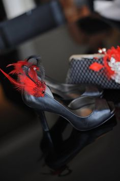 Red And Black Feathered Shoe Clips Set Of Two by Chuletindesigns, $25.00