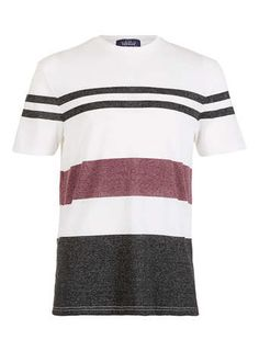 CREAM BLACK AND BURGUNDY MIX STRIPE T-SHIRT - Men's T-shirts & Tanks  - Clothing