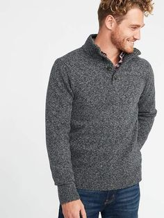 Button Mock-Neck Sweater for Men - Men's Fashion - Cheap Mens Fashion, Mens Fashion Shoes, Fashion Fall, Shoes Men, Mens Fashion Sweaters, Men Sweater, Mens Sweater Outfits, Men Cardigan, Old Navy Men