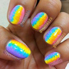 Bright pastel needle drag nail art design