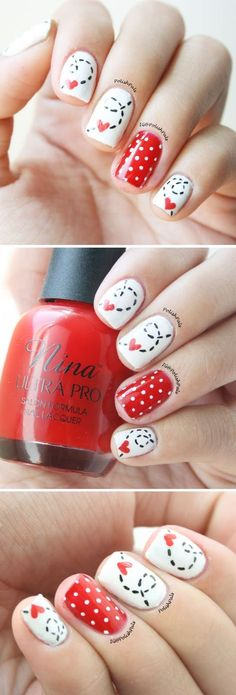 Valentine's Day Nails by PolishPals -- Click here to find the tutorial on how to make your own Stitched Heart Nails!