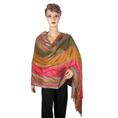 Amazon.com: Pashmina Shawls Throw Self Design Multi Color Woven Reversible Stole Scarf Wrap Shawl: Clothing  $22.99