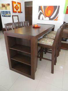 Comedor de Diario, con 6 sillas altas + espacio con repisas. En mara macho #cocinaspequeñasconbarra
