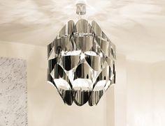 Nella Vetrina Murano Mistral Luxury Designer Italian Hanging Light in Stainless Steel
