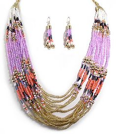 Another great find on #zulily! Gold & Purple Bead Multistrand Necklace & Drop Earrings by MOA International Corp #zulilyfinds