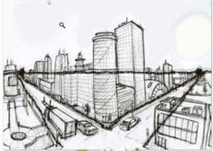 Two Point Perspective City, 2 Point Perspective Drawing, Perspective Art, New York Drawing, City Drawing, Art Assignments, Architecture Concept Drawings, Artwork For Home, People Illustration