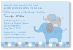 Blue Grey Elephant Printable Baby Shower by LittlePrintsParties, $10.00