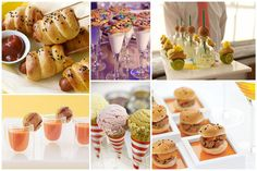 mini bites! (credit: corndogs-food network; milk & cookies-style me pretty; tacos & patron-readyluck photography; tomato soup & grilled cheese-brides; ice cream-inspired by this; sliders)