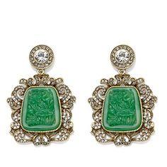 "Heidi Daus ""Daus Dynasty"" Simulated Jade Drop Earrings"