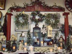 a wall at the store. Flea Market Displays, Store Displays, Holiday Wishes, Craft Shop, Visual Merchandising, Christmas Tree, Cottage, Seasons, Holiday Decor