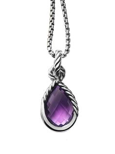"""The London Jewelers Lustgarten Foundation Limited Edition Sterling Silver Amethyst Pendant. Sterling Silver Pendant with Cable Design Around Amethyst Stone on a 16"""" Chain. Pendant Measures 1"""" From Top to Bottom. Pendant is Made By David Yurman. Available in 18""""."""