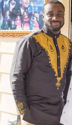 Gold embroidery by BournLoondonLtd African Attire For Men, African Men Fashion, African Wear, King Fashion, Men's Fashion, Afro, African Tops, Swagg, Menswear