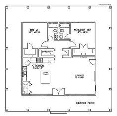 **First Floor Plan of Cottage Florida Southern House Plan to. - House Plans, Home Plan Designs, Floor Plans and Blueprints Cabin Floor Plans, Tiny House Plans, Small House Plans Under 1000 Sq Ft, Small Home Floor Plan, Tiny Cottage Floor Plans, Square House Plans, Guest House Plans, Duplex Floor Plans, Pool House Plans