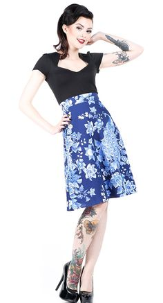 A-line Skirt in Midnight Peacock   Blame Betty