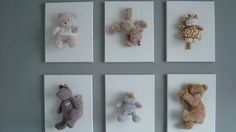 What a FABULOUS idea for using much loved or overflow of teddy gifts as art.  Stitch soft toys onto plain white canvases.  Found on Ikea's PS at Home [Laurence Burre / Belgium]