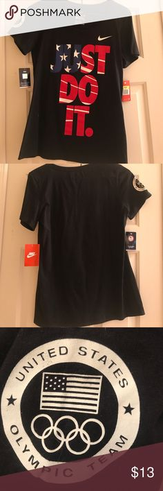Nike Shirt Black American Flag 🇺🇸 Just Do It Nike Shirt. Size S. Brand New With Tags. Nike Tops