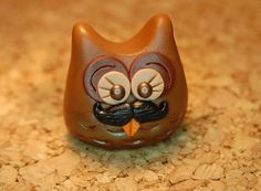 polymer clay owl brown owl with mustache by SMarrtCreations, $8.00