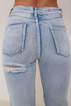 Kim High Waisted Mom Ripped Bum Jeans Blue - Denim - Shop by Category - Clothing | LASULA