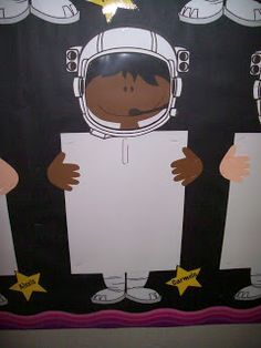 Space theme bulletin board work display idea Change to child photo with Mickey Mouse ears and hands. Permanent display space for every kid and let them choose each week which work they want to display. Space Theme Classroom, Classroom Design, Classroom Displays, Future Classroom, Classroom Organization, Classroom Decor, Ks1 Classroom, Classroom Window, Class Displays