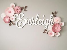 Wood Name Sign Cutout - Painted Name Wall Hanging - Baby Nursery Name Decor - Wooden Name Baby Shower Decor - Paper Flowers 🌸 Nursery Name Decor, Name Wall Decor, Baby Room Decor, Girl Nursery, Wood Nursery, Paper Flower Wall, Paper Flower Backdrop, Flower Wall Decor, Paper Flowers