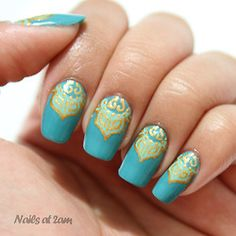 Teal and Gold #beauty #nails