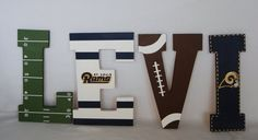 St Louis Rams Nursery Wall Letters ,boys room ideas, football, sports, birthday, gift, baby shower, name, custom, hand painted, wood, hand cut