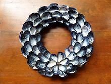 "Medium Mussel Shell Wreath | Periwinkle Designs 12"" diameter  $60."