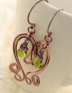 Artsy Paisley copper earrings with apple green briolette dangles.