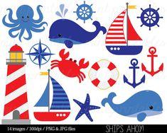 Náuticos Clipart Clip Art, Clipart de ancla, Imágenes Prediseñadas, vela mar Faro velero mar la ballena - comercial y Personal - BUY 2 GET 1 gratis!