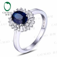 check discount caimao 18kt750 white gold 1 14 ct natural sapphire y 0 38 ct full cut #engagement #ring #sapphire