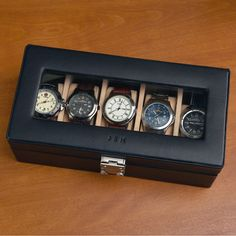 Personalized Watch Box Valet Case at Brookstone—Buy Now! Breitling, Personalized Watch Box, Watch Organizer, Watch Storage, New Ray Ban Sunglasses, Leather Watch Box, Watch Case, Luxury Watches, Watches For Men