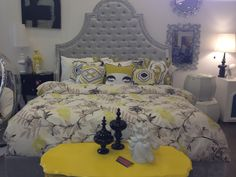 Yellow bedroom Love the headboard