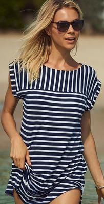 The Tommy Bahama Brenton Stripes Rolled Short Sleeve Dress is a perfect cover up to go with your bikini or one piece in brenton stripes. Resort Wear Dresses, Island Wear, Tropical Dress, Swimsuits, Bikinis, Tommy Bahama, Warm Weather, Cover Up, Short Sleeve Dresses