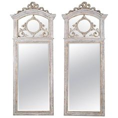 Pair of French Louis XVI-Style Mirrors | From a unique collection of antique and modern wall mirrors at https://www.1stdibs.com/furniture/mirrors/wall-mirrors/
