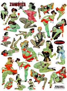 ZoMBIE PIN-UPS Digital Printable Collage Sheet Retro by JUNKMILL                                                                                                                                                                                 More