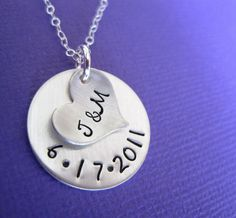 Personalized / Customized Sterling Silver Necklace - Our Initials and Anniversary Date Hand Stamped Jewelry. $38.00, via Etsy.