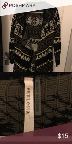 Tribal print cardigan Very comfy and stretchy. Perfect condition, no holes, rips, or stains. Doesn't button up though. Super long on me, goes to my mid thighs, but super cute if worn with leggings and boots. Ekklesia Sweaters Cardigans