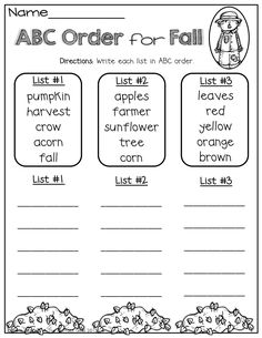 Order for Fall! Write words on popsicle sticks for easier alphabetizing. Can color code for each list.ABC Order for Fall! Write words on popsicle sticks for easier alphabetizing. Can color code for each list. 2nd Grade Ela, 1st Grade Writing, First Grade Reading, Grade 1, Second Grade, Kindergarten Writing, Writing Practice, Word Study, Word Work