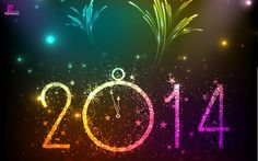 Happy New Year 2014 Beautiful Colourful Wallpaper Cards