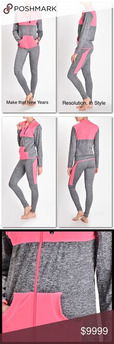 Yoga Suit🏋 COMING SOON‼️ Start the New Year off in style. Turn heads at the gym in this trendy yoga suit. Pants available in S/M and L/XL. Jacket is OS. Measurements available upon request. 92% Nylon 13% Spandex. Pants