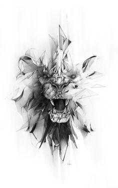 Broken grey geometric lion face tattoo design geometric tattoo special mental symbol of power for denis barcelona if you want tattoo write m barcelona denis geometric mental power special symbol tattoo write Kunst Tattoos, Body Art Tattoos, Tattoo Drawings, New Tattoos, Sleeve Tattoos, Tatoos, Maori Tattoos, Forearm Tattoos, Tatoo Henna