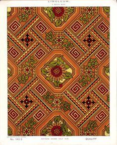 George Harrison & Co (Bradford) :Linoleum, 2 yards wide. [Victorian chinoiserie floral and leaf pattern]. Pattern shown half size.