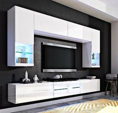 Más ideas - More ideas Living Room Wall Units, Interior Design Living Room, Living Room Tv Unit Designs, Tv Cabinet Design, Tv Wall Design, Tv Wanddekor, Tv Unit Furniture, Furniture Dolly, Modern Tv Wall Units