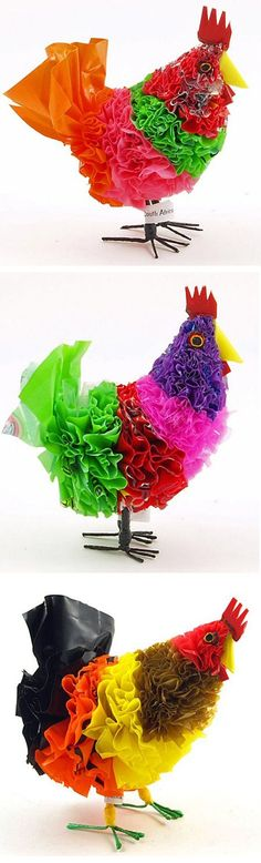 "12 Amazing Objects Made From Plastic Bags. ""This recycled fair trade plastic bag chicken figurine is handcrafted by disadvantaged crafters in the townships near Cape Town, South Africa, and produced exclusively for Wow! Imports. These are made from a wide range of colorful recycled plastic. Notice that many of these chickens have logos from Fanta, Coke and more"""