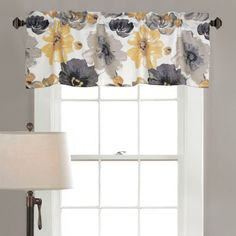 Leah Yellow And Gray 18 X 52 Inch Valance Lush Decor Valances & Window Scarves Window Trea