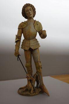 Saint Georges terrassant le dragon Tyrol ?, vers 1480-1490 Statue, bois feuillu (tilleul ?), restes de polychromie, épée (XIXe siècle ?) rapportée en alliage ferreux, poignée recouverte de cuir H. 1,86 m ; L. 0,63 m ; P. 0,74 m Legs Jean Antoine Vayson, 1913 Abbeville, Musée Boucher-de-Perthes Inv. 332