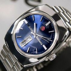 Rado Conway Mens Day/Date Blue Dial AUTOMATIC Swiss Made Rare Vintage Used Watch