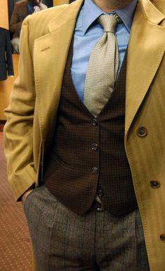 Wool Overcoat + Oxford Shirt + Wool Waistcoat + Italian Silk Tie + Glenncheck Pants