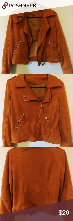 Camel Suede Moto Jacket Super soft camel color moto style jacket! Jackets & Coats