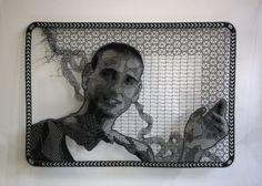 Pierre Fouché. Portrait of Guy Nardy (2009-2012). Bone lace in polyester floss. 570 x 400mm